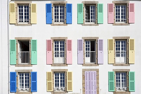 Coloured shutters of a hotel, Port Maria, Quiberon, Morbihan, Brittany, France, Europe