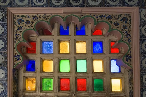 Coloured glass windows, City Palace, Udaipur, Rajasthan, India, South Asia