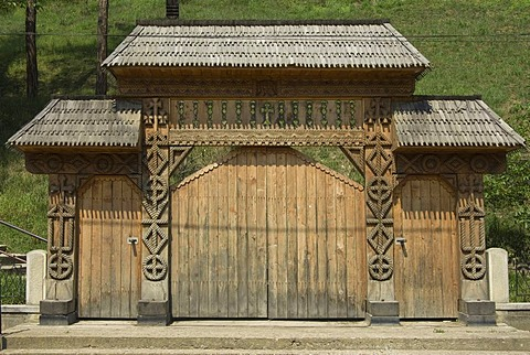 Carved wood portal, Maramures, Romania - 832-250957