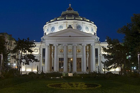 Concert Hall Atheneum at night, Bucharest, Rumania