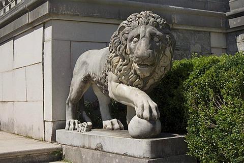 Peles Castle, lion statue, Simiu, Wallachia, Carpathian Mountains, Romania