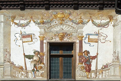 Peles Castle, painted wall in the courtyard, Simiu, Wallachia, Carpathian Mountains, Romania