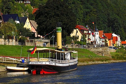Cruise vessel on gangplank in Wehlen, Nationalpark Saxon Switzerland, Saxony, Germany, Europe