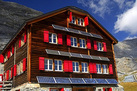 Utilization of solar energy in remote areas, Laemmerhuette, Swiss Alpine Club, Valais, Switzerland, Europe