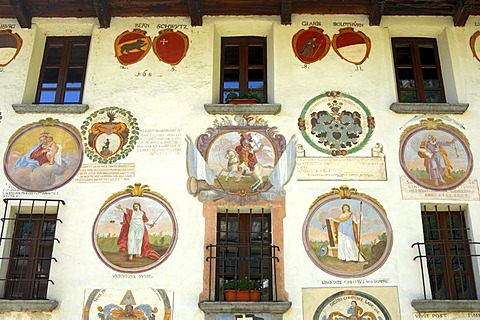 Facade of the parish house decorated with crests, former courthouse of the bailiffs, Cevio, Maggia Valley, Ticino, Switzerland, Europe