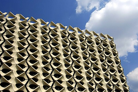 Diamond-shaped sections of concrete on the facade of the Stadthalle, community hall in Chemnitz, Saxony, Germany, Europe