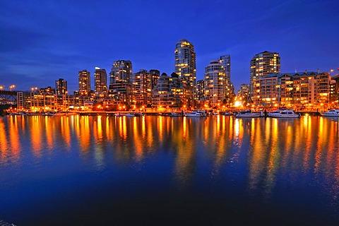 Skyline of Vancouver Down town, evening light, False Creek, British Columbia, Canada, North America