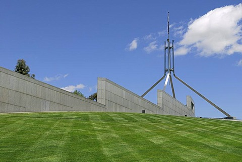 On the roof terrace of the New House of Parliament, Canberra, Australia