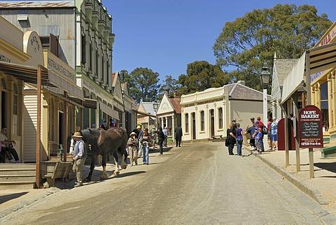 Tourists in the gold-mining town of Ballarat, museum town, Victoria, Australia