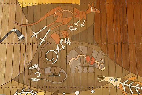 Modern mural painting in an Aboriginal style, detail, marsupials and fish, Berri, South Australia, Australia
