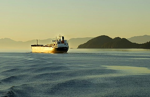 Freighter on the Inside Passage, British Columbia, Canada, North America