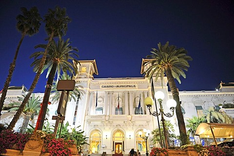 San Remo Casino, night exposure, Riviera dei Fiori, Liguria, Italy, Europe
