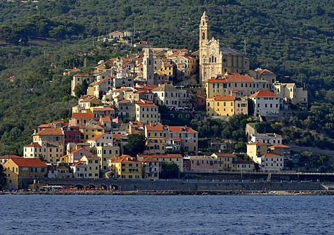 Cervo with the Parish church of San Giovanni Battista, view from the sea, Riviera dei Fiori, Liguria, Italy, Europe