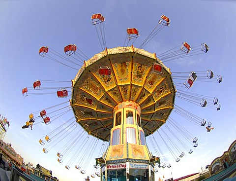 Chairoplane roundabout swing at the Cannstatter Volksfest Fair in Stuttgart, Baden-Wuerttemberg, Germany, Europe