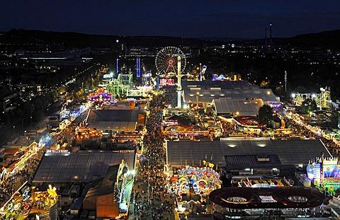 Night shot of Cannstatter Volksfest, Stuttgart, Baden-Wuerttemberg, Germany