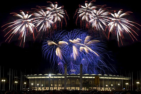 Fireworks over the Berlin Olympic Stadium for the Pyronale, World Championship of Fireworks, Berlin, Germany, Europe