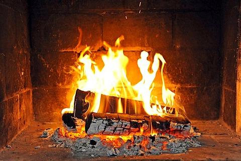 Wood fire in an open fire-place