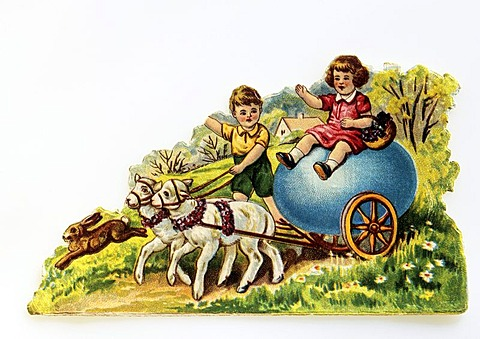Child with an egg cart, easter, old enamel picture