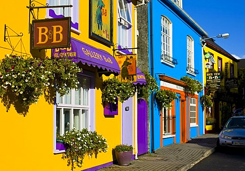 Colored house facades in Kinsale, Ireland, Europe