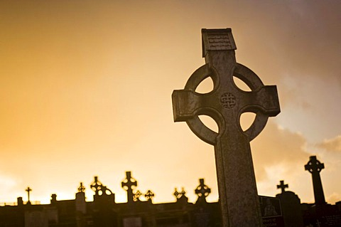 Gravestones at a cemetery in Bantry, Ireland, Europe