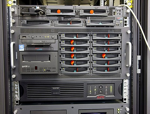 Mainframe computer, computer center of a company, server connection of individual computer workstations to the server