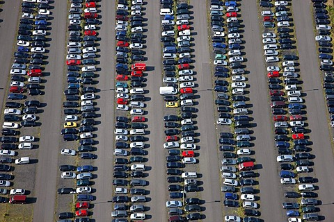 Big parking lot for cars, Muensterland, North Rhine-Westphalia, Germany, Europe