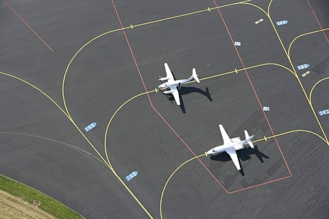 Planes for private and business trips on the apron, parking space of Muenster-Osnabrueck Airport, North Rhine-Westphalia, Germany, Europe