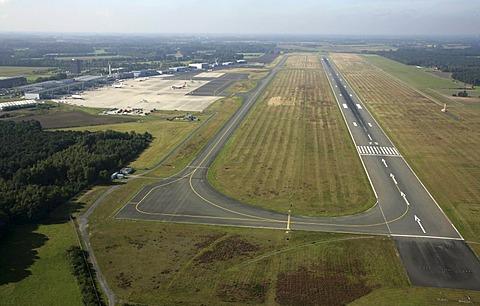 Runway of Muenster-Osnabrueck Airport, North Rhine-Westphalia, Germany, Europe