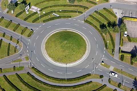 Roundabout junction near Muenster, North Rhine-Westphalia, Germany, Europe