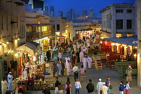 Souq al Waqif in the evening, oldest souq, bazaar in the country, the old part is newly renovated, the newer parts have been reconstructed in a historical style, Doha, Qatar