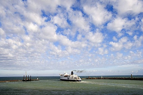 P&O Channel Ferry leaving the port of Calais, France, Europe