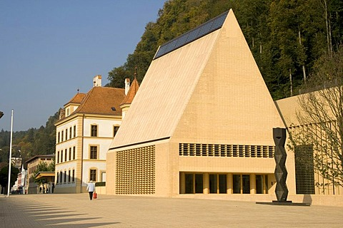 Pedestrian area in front of the Liechtensteiner Landtag, representative assembly, Vaduz, Liechtenstein, Europe