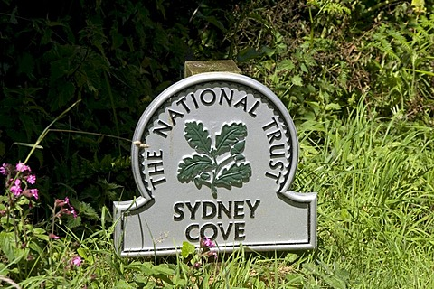 Sign of The National Trust at Sydney Cove, Cornwall, England, Great Britain, Europe