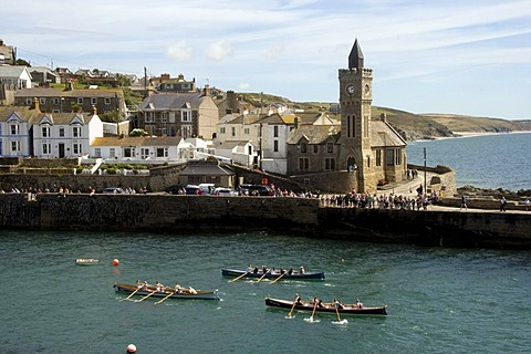 Rowboats in Porthleven Harbour, Cornwall, England, Great Britain, Europe
