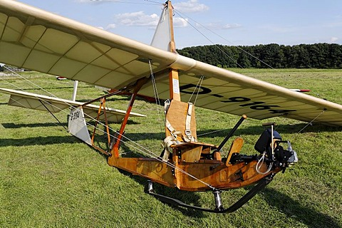 Historic glider SG38, wooden construction with an open seat, glider to train beginners from 1938, Glider Airport, Aero Club Duesseldorf, Nordrhein-Westfalen, Germany, Europe
