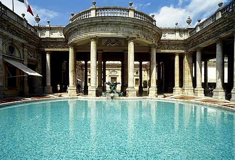Tettuccio, thermal spa in an Art Nouveau style, colonnade and pool, Montecatini Terme, Tuscany, Italy, Europe