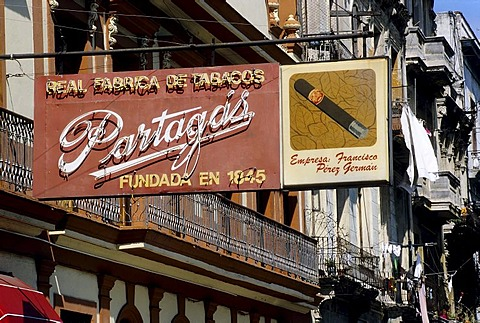 Advertising sign of the oldest cigar factory of Cuba, Partagas, Centro Habana, Havana, Cuba, Caribbean