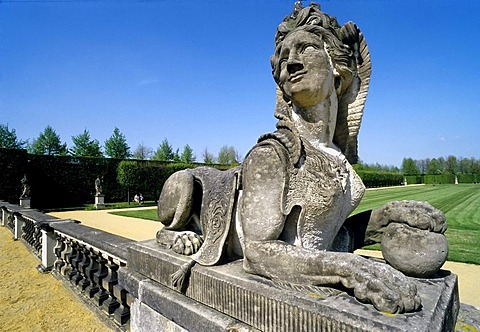 Stone Sphinx sculpture, Grosssedlitz Baroque Gardens, Heidenau, Saxony, Germany, Europe