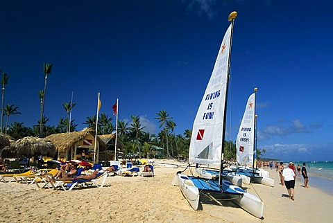 Catamarans, palm beach Playa Bavaro near Punta Cana, Dominican Republic, Caribbean