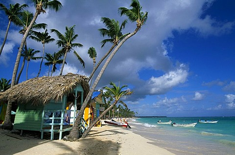 Huts, palm beach Playa Bavaro near Punta Cana, Dominican Republic, Caribbean