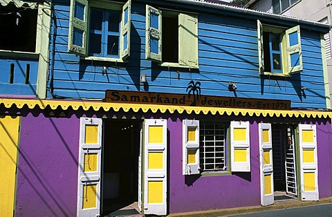 Colourful facades in Roadtown on Tortola Island, British Virgin Islands, Caribbean
