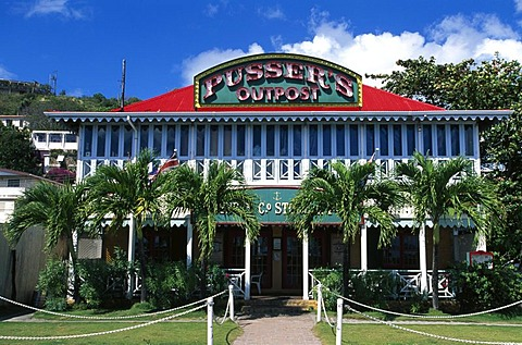 Pusser's Bar in Roadtown on Tortola Island, British Virgin Islands, Caribbean
