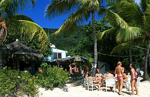 Beach bar at White Bay on Jost Van Dyke Island, British Virgin Islands, Caribbean - 832-256244