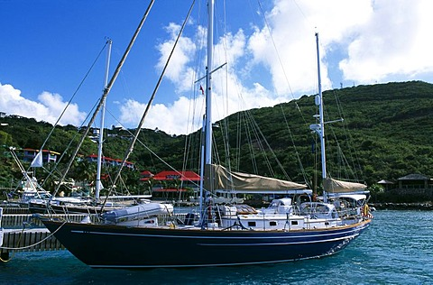 Sailing boat at Leverick Bay on Virgin Gorda Island, British Virgin Islands, Caribbean
