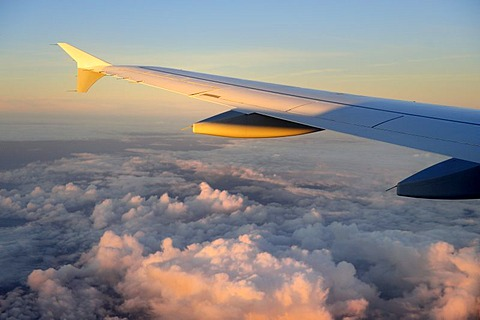 Wings, plane, Lufthansa Airbus A340-313X, above the clouds at sunrise