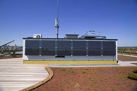 Solar installation on the roof of the Bamberg public utility company, Bamberg, Bavaria, Germany, Europe