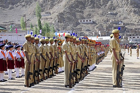 Indian soldiers from the base camp, Kashmir conflict, at a parade on Independance day, 15th September, on a former polo field in Leh, Ladakh, North India, Himalaya, Asia