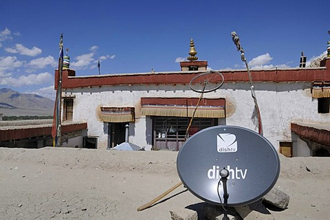 Shey monastery with satellite antenna and a bike wheel as a radio antenna, Ladakh, India, Himalayas, Asia