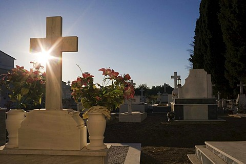Graves with the sun rising behind them