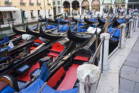 Parked Venetian gondolas